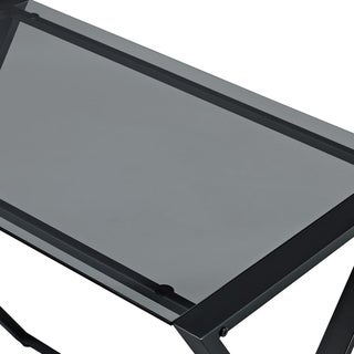 X-frame Smoked Glass and Metal L-shaped Computer Desk