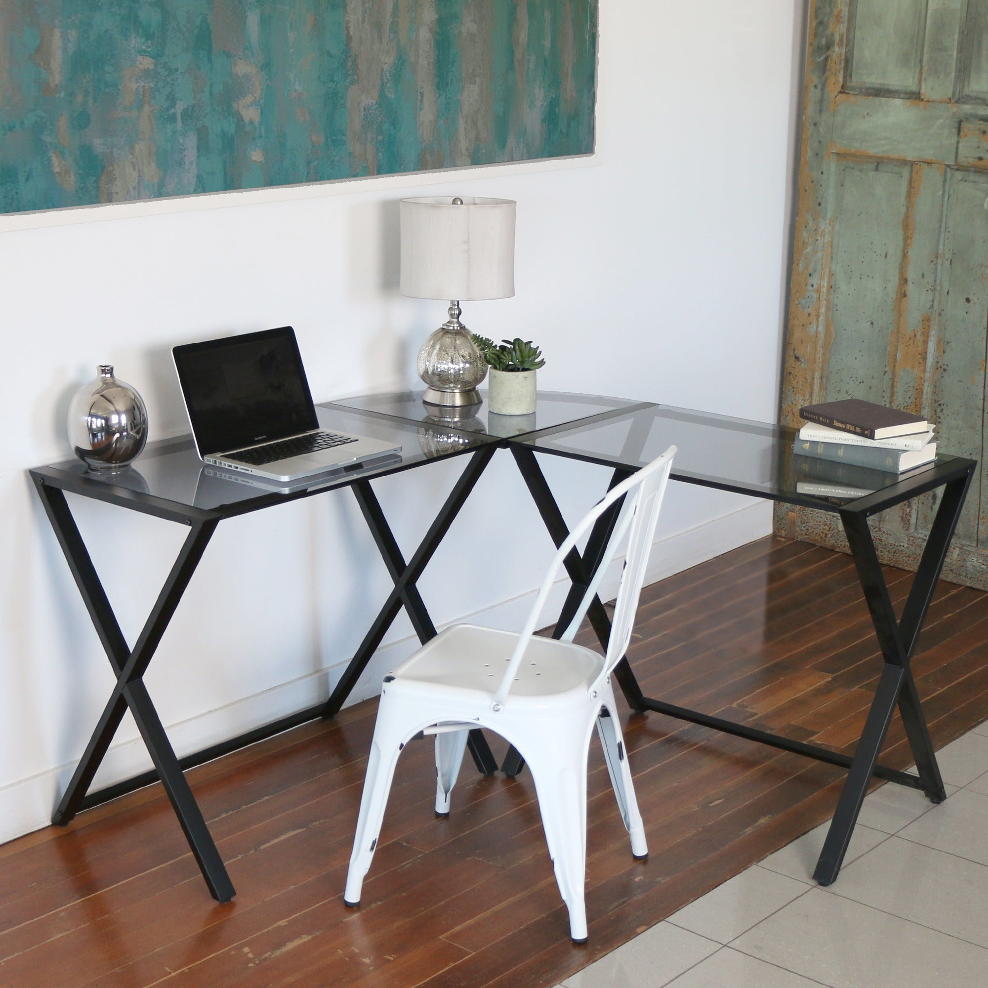 X-frame Smoked Glass and Metal L-shaped Computer Desk (X-...