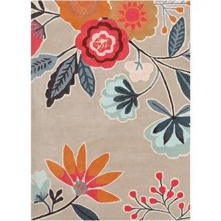 Hand-Tufted Looe Floral New Zealand Wool Area Rug - 5' x 8'