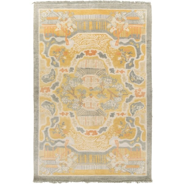 Hand-Knotted Arundel Print Reversible Wool Area Rug - 5' x 8'