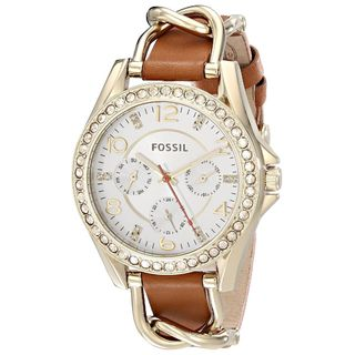 Fossil Women's ES3723 'Riley' Multi-Function Crystal Brown Leather Watch