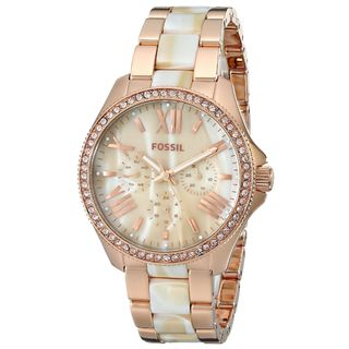 Fossil Women's AM4616 'Cecile' Multi-Function Crystal Two-Tone Stainless Steel Watch