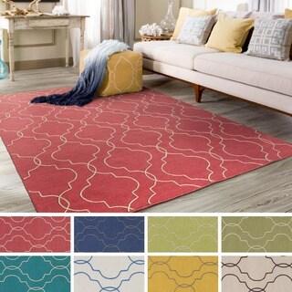 Hand-Woven Jaiden Geometric Pattern Wool Rug (5' x 7'6)