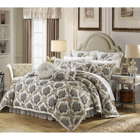 Chic Home Zanotti Silver Floral Jacquard 9-piece Comforter Set