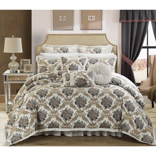 Chic Home Zanotti Silver Floral Jacquard 9-piece Comforter Set (2 options available)