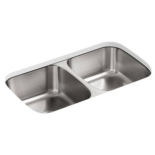 KOHLER Undertone Undercounter Stainless Steel 31.5x17.75x8 0-Hole Double Bowl Kitchen Sink