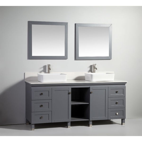 72 inch dark grey solid wood sink vanity with mirror free shipping today for Solid wood double sink bathroom vanity