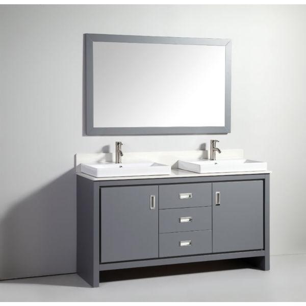60 inch dark grey solid wood sink vanity with mirror - 60 inch unfinished bathroom vanity ...