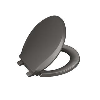 Kohler Cachet Quiet-close Round Front Closed-front Toilet Seat with Grip-tight Bumpers in Thunder Grey