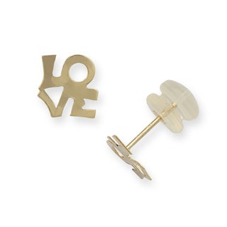 14k Yellow Gold 'Love' Post Stud Earrings
