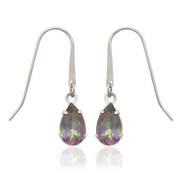 14k White Gold Pear Mystic Fire Topaz Drop Hook Earrings On Free Shipping Today 10522329