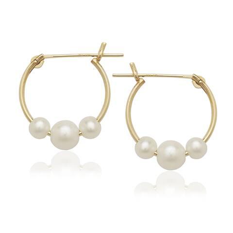 Curata 14k Freshwater Triple Pearl Hoop Earrings (3-4mm) - White