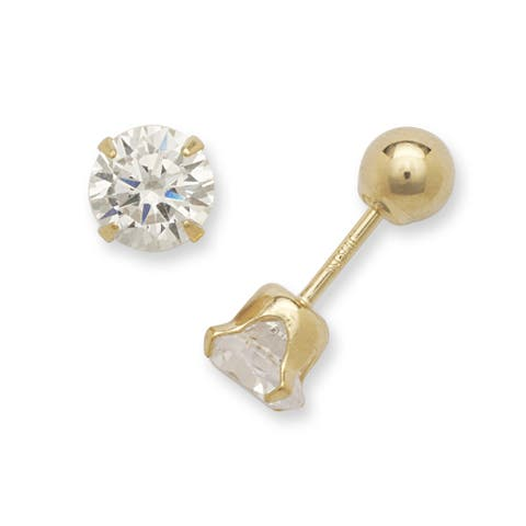 14k Yellow Gold 5mm Cubic Zirconia and 4mm Ball Reversible Earrings