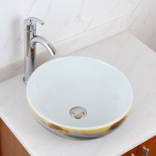 Elite 1577+882002 Round Magic Color and White Porcelain Ceramic Bathroom Vessel Sink with Faucet Combo