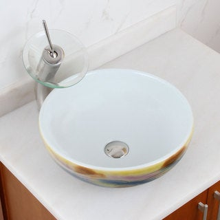 Elite 1577+f22t  Round  Magic Color and White Porcelain Ceramic Bathroom Vessel Sink Waterfall Faucet Combo