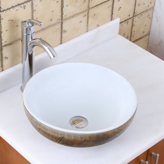 Elite 1576+882002 Round Autumn Leave and White Porcelain Ceramic Bathroom Vessel Sink with Faucet Combo