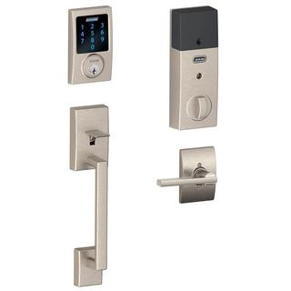 Schlage Connect Century Satin Nickel Touchscreen Deadbolt with Alarm and Handle set with Latitude Interior Lever