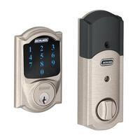 Schlage Connect Camelot Satin Nickel Touchscreen Deadbolt with Alarm
