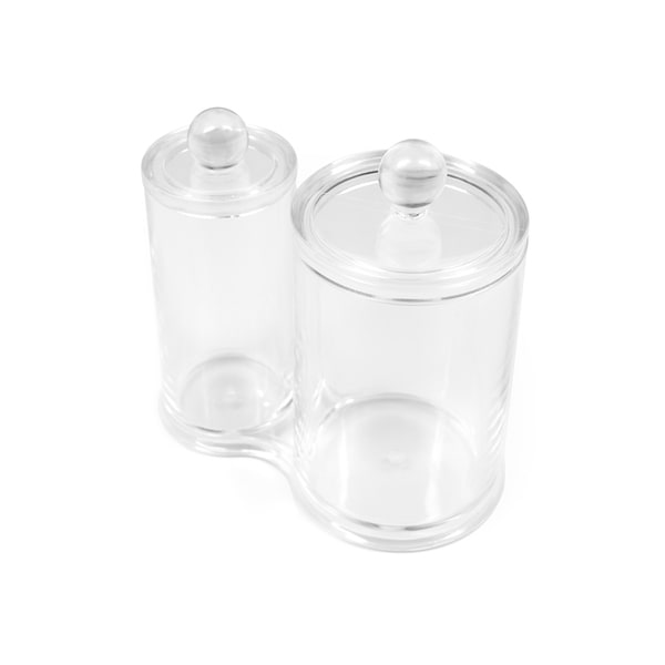 Sorbus Cotton Ball and Swab Holder, Attached Containers, Separate Lids