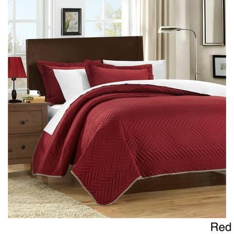 Chic Home Cupertino Herringbone Reversible 7-piece Quilt Set
