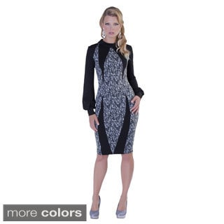Kayla Collection Women's Printed Turtle Neck Sheath Dress