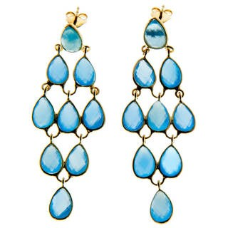 Handmade Gold-Plated Sterling Silver Tiered Chandelier Earrings (India)