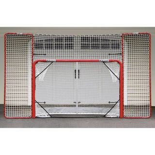 EZGoal Hockey Folding Pro Goal with Backstop and Targets, 2-Inch, Red/White