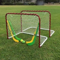 Folding Double Metal Mini Hockey Goal Gift Set