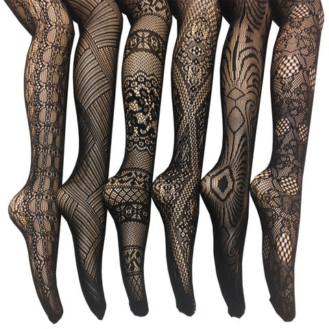 Women's Black Nylon/Spandex Fishnet Lace Stocking Tights (Pack of 6)