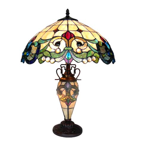 Tiffany Style Victorian Design 2+1-light Antique Bronze Table Lamp