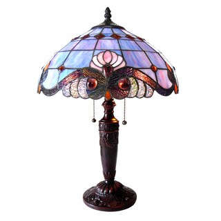 Chloe Tiffany Style Victorian Design 2-light Antique Bronze Table Lamp
