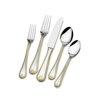 St. James Kings Gold Accent Bead Flatware 18/10 Stainless Steel 65-piece Set