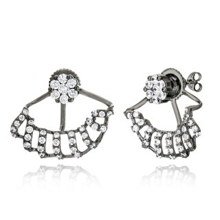 Pori 18k Goldplated or Black Rhodium-plated Sterling Silver Cubic Zirconia Flower and Spiral Effect Jacket Earrings