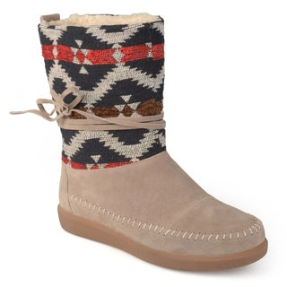 Journee Collection Women's Fashion Multi Fabric Moccasin Boots
