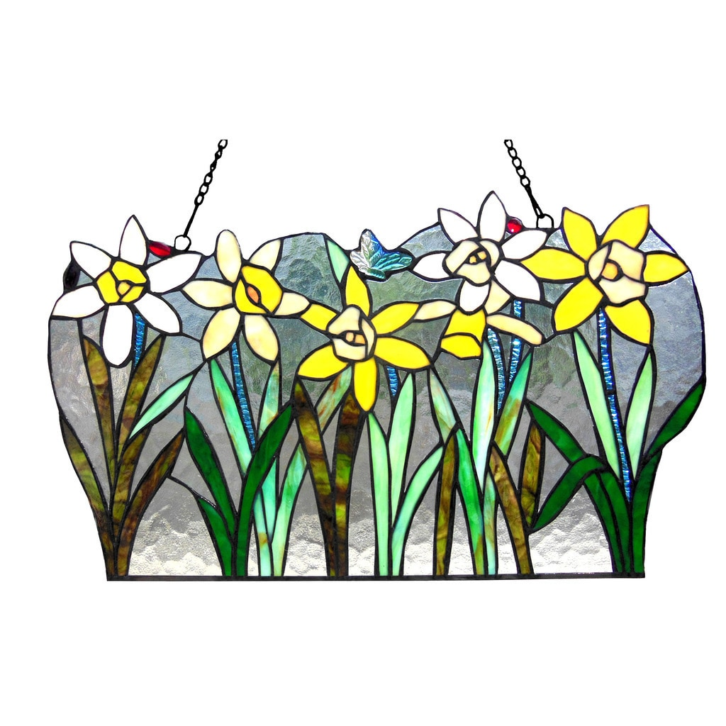 Chloe Lighting Daffodil Design Window Panel/Suncatcher, M...