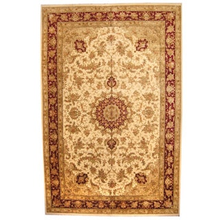 Herat Oriental Indo Hand-knotted Vegetable Dye Tabriz Wool and Silk Rug (12' x 18'4)