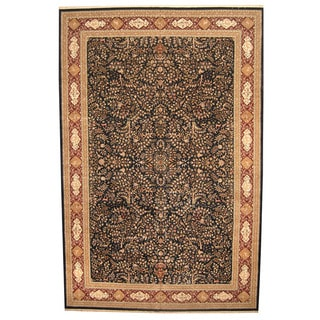 Herat Oriental Indo Hand-knotted Vegetable Dye Tabriz Wool and Silk Rug (12' x 18')