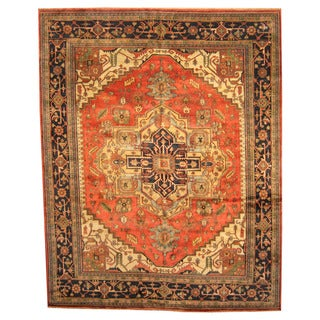 Herat Oriental Indo Hand-knotted Vegetable-dyed Serapi Wool Rug (11'9 x 14'9)