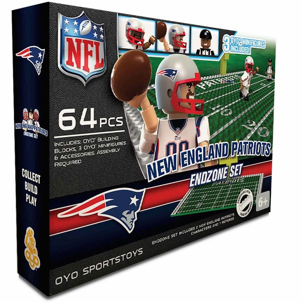 Oyo NFL New England Patriots 64-Piece End Zone Building Set