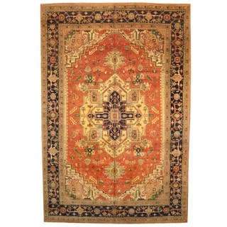 Herat Oriental Indo Hand-knotted Vegetable-dyed Serapi Wool Rug (12' x 18')