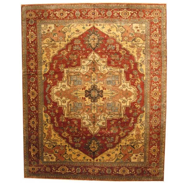 Vegetable Dyed Hand Knotted Floral Oushak Ivory Persian: Shop Handmade Herat Oriental Indo Vegetable Dye Serapi