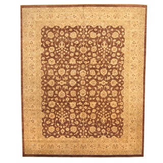 Herat Oriental Afghan Hand-knotted Vegetable-dyed Oushak Wool Rug (11'9 x 14'7)
