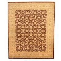 Herat Oriental Afghan Hand-knotted Vegetable Dye Oushak Wool Rug (11'9 x 14'7)