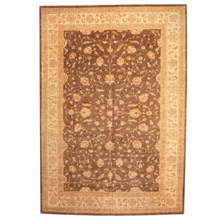 Herat Oriental Afghan Hand-knotted Vegetable-dyed Oushak Wool Rug (11'8 x 17)