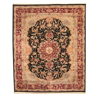 Herat Oriental Indo Hand-knotted Vegetable Dye Tabriz Wool and Silk Rug (12' x 14'8)