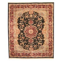 Herat Oriental Indo Hand-knotted Vegetable Dye Tabriz Wool and Silk Rug (12' x 14'8) - 12' x 14'8