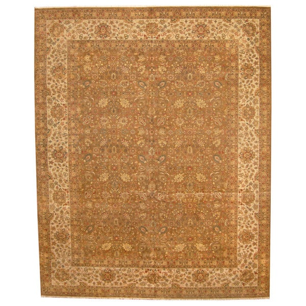 Herat Oriental Indo Hand-knotted Vegetable Dye Tabriz Wool Rug (12' x 15')