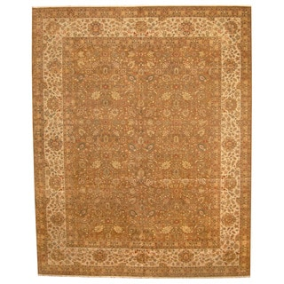Herat Oriental Indo Hand-knotted Vegetable-dyed Tabriz Light Wool Rug (12' x 15')