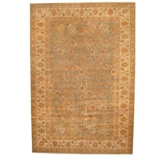 Herat Oriental Indo Hand-knotted Vegetable Dye Tabriz Wool Rug (13' x 19')