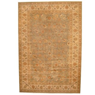 Herat Oriental Indo Hand-knotted Vegetable Dye Tabriz Wool Rug (13' x 19') - 13' x 19'
